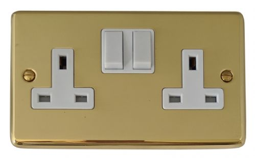 G&H CB10W Standard Plate Polished Brass 2 Gang Double 13A Switched Plug Socket